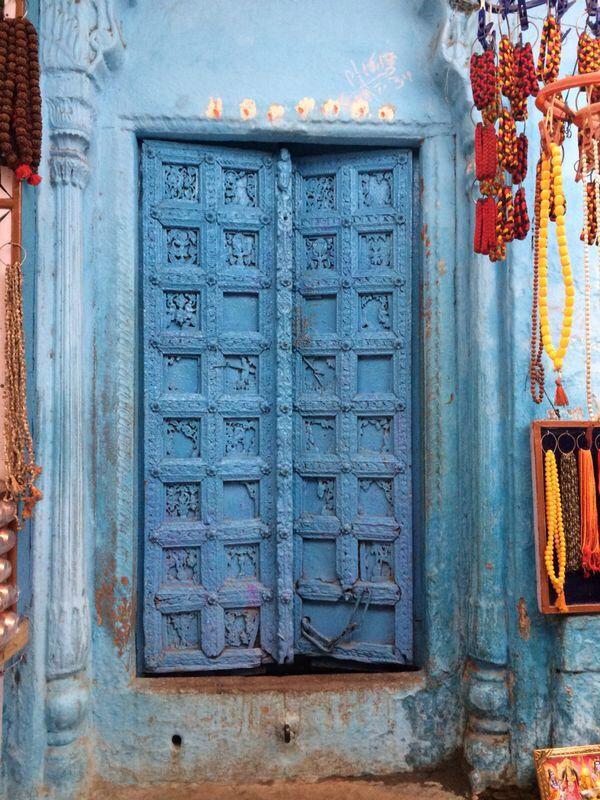 Varanasi, India. Blue door