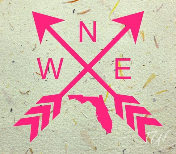 Florida North South East West Compass Arrows Vinyl Decal