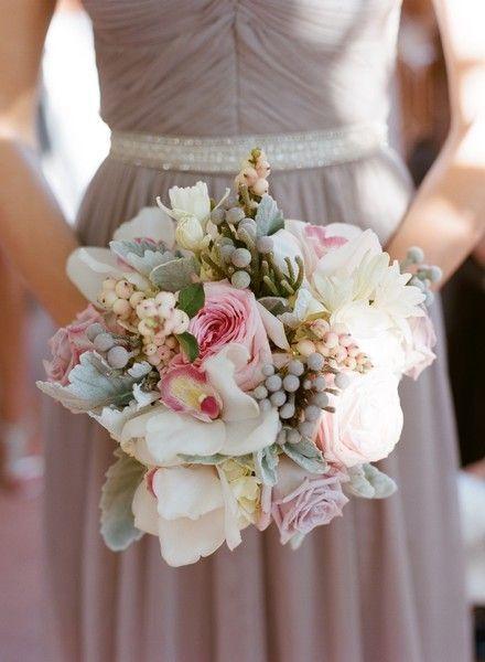 Gorgeous wedding bouquet with silver brunia ball accents! {Bear Flag Farm}