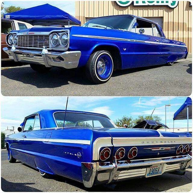 Candy Blue 64 Impala on Blue Daytona 18s
