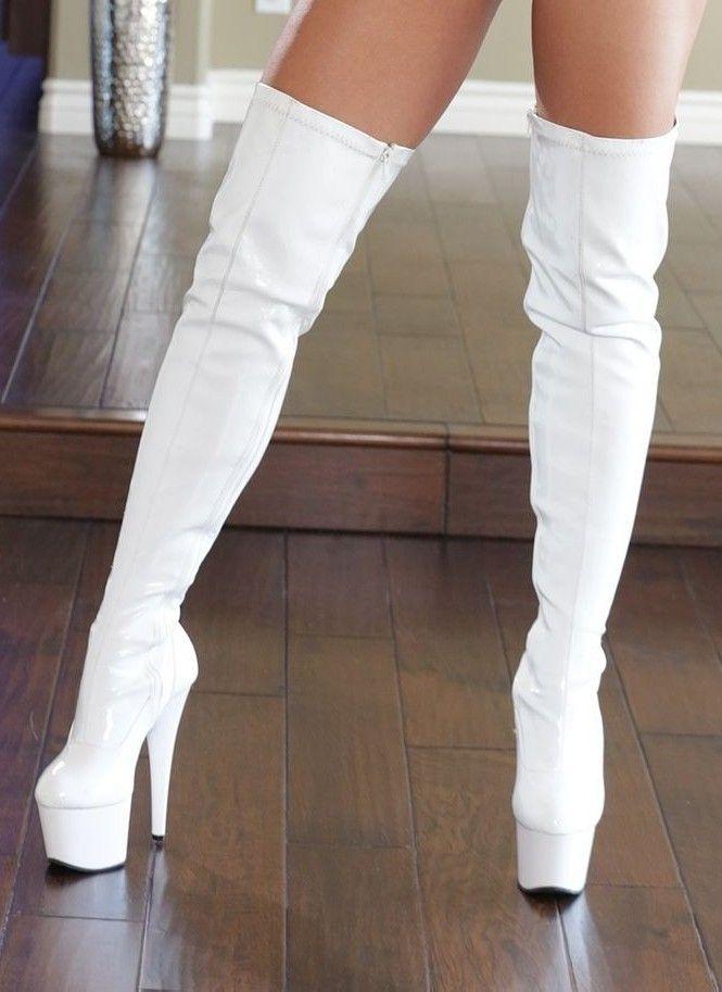 boots White thigh high