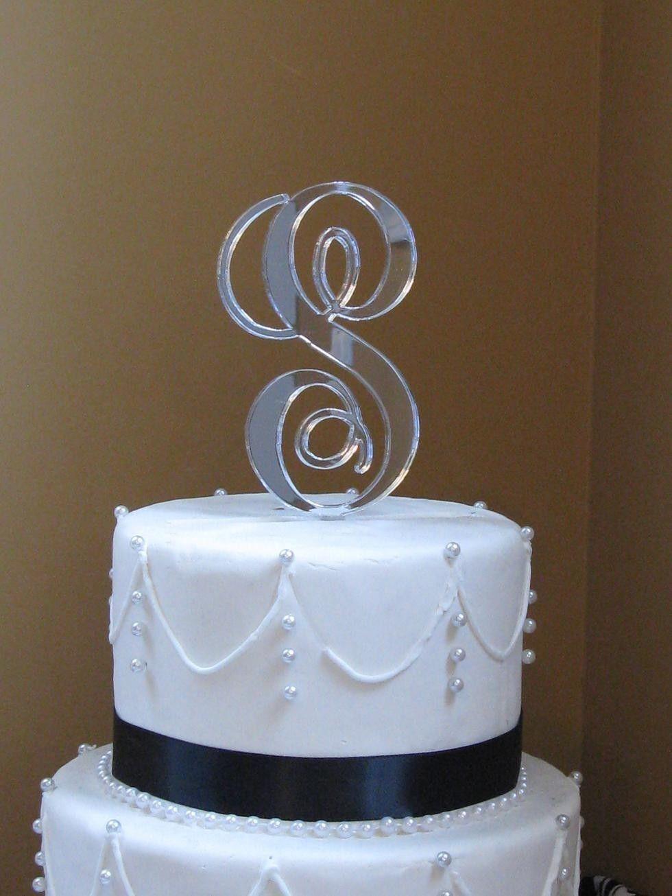 Interlocking monogram cake toppersilver by milancreations