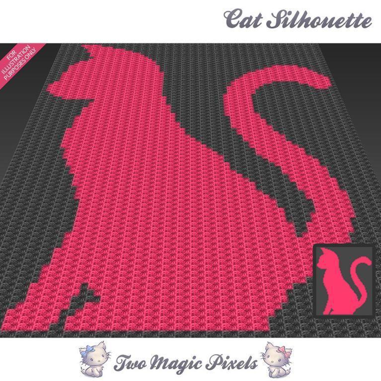 Cat Silhouette C2C Crochet Graph | Tejido en crochet, Cobija y Ganchillo