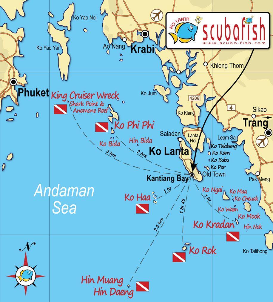 Ko Lanta Dive Site Overview Map Area map, Thai islands