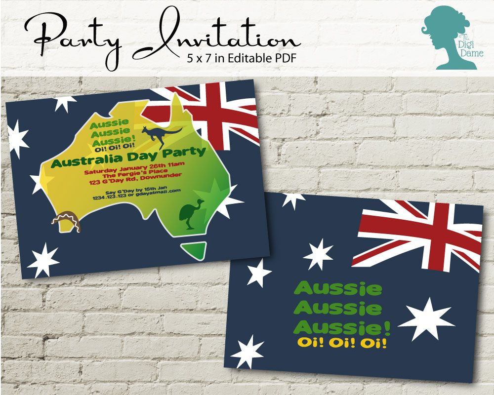 Aussie/Australia Day Party Invitation by The Digi Dame Printable ...