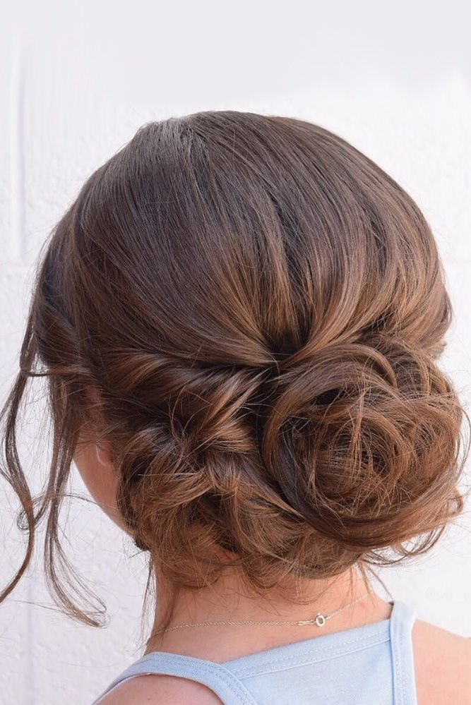 wedding hairstyles for thin hair messy updo with dark hair