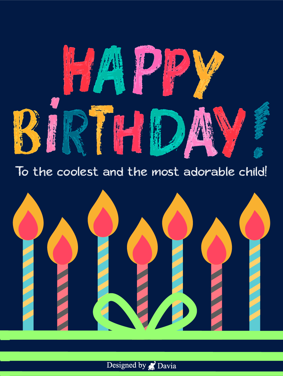 Coolest Candles Happy Birthday Kids Cards Birthday Greeting Cards By Davia In 2021 Happy Birthday Kids Happy Birthday Kids Cards