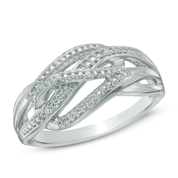 Diamond Accent Beaded Loose Braid Ring in Sterling Silver