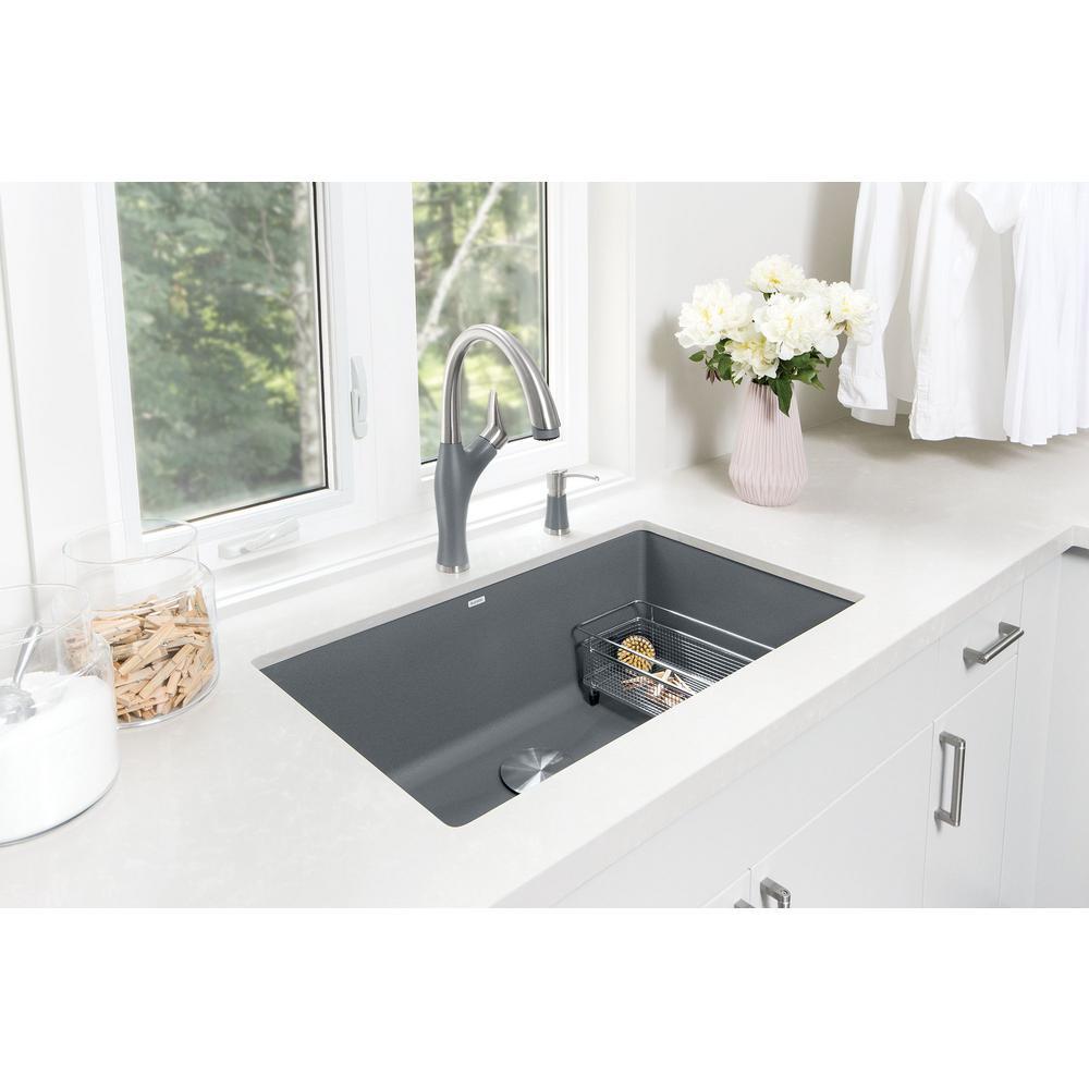 Blanco Precis Undermount Granite Composite 32 In Single Bowl Kitchen Sink Metallic Gray 440148 The Home Depot Sinks
