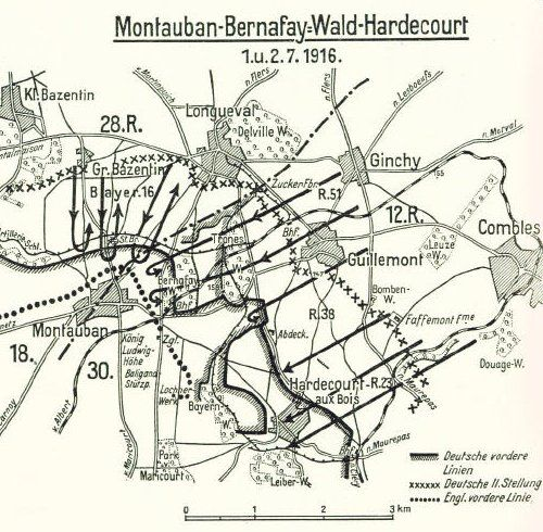 Map of German counterattack at Montauban 12 July 1916 Carnoy