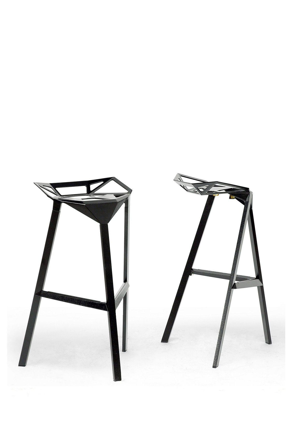 W I Modern Furniture Black Kaysa Aluminum Modern Bar Stool