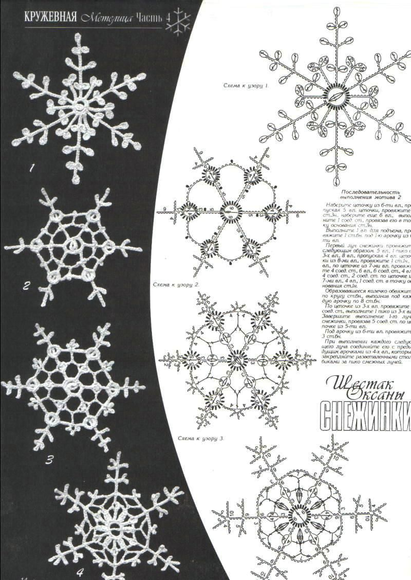 Delicate Crochet Snowflakes with accompanying pattern charts. Most ...