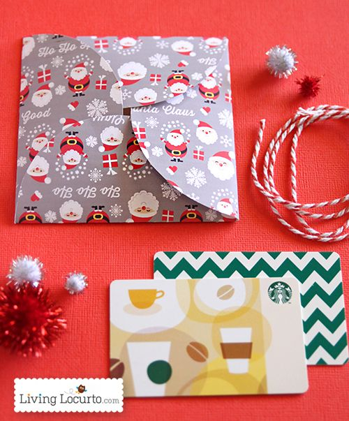 Free Printable Santa Themed Paper Gift Card Holder for DIY Gifts - christmas gift certificates free