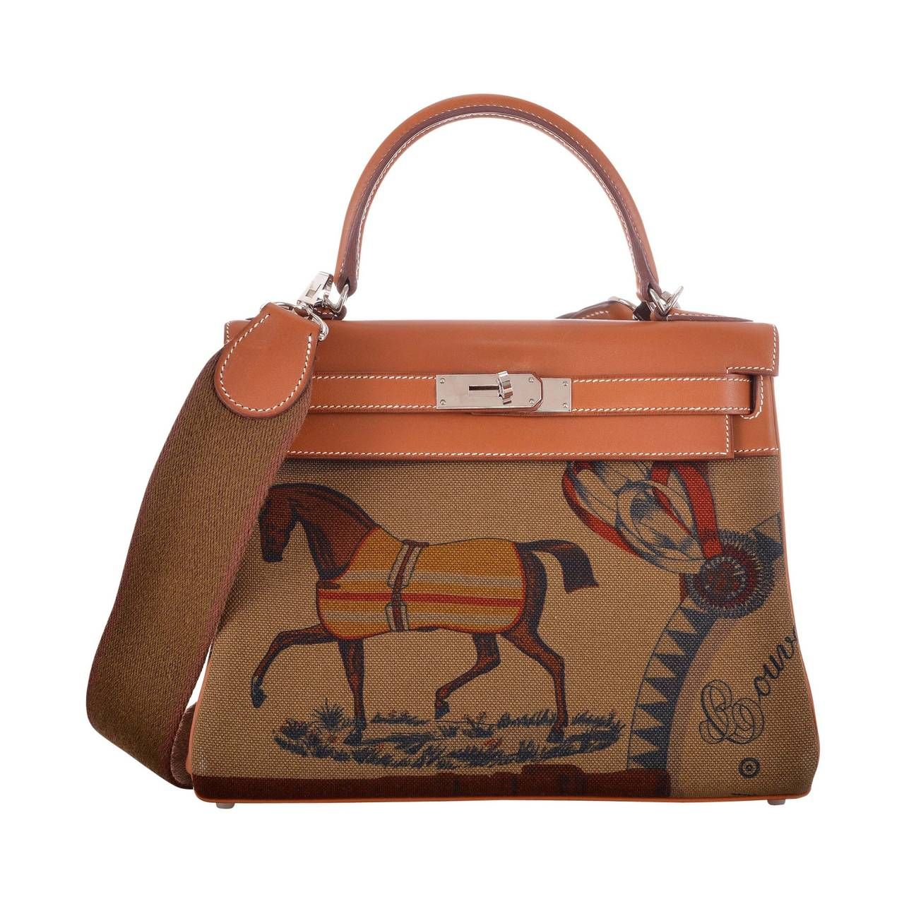 3d83e6ec6f HERMES KELLY BAG 28CM AMAZONE BARENIA / TOILE HORSE PRINT JaneFinds | From  a collection of