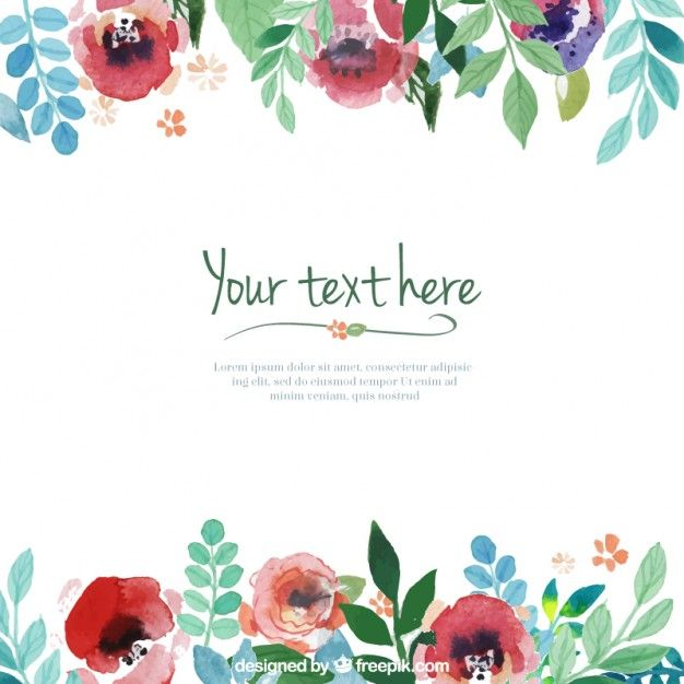 Template flores pintados mão Watercolor, Painted flowers and - free blank greeting card templates
