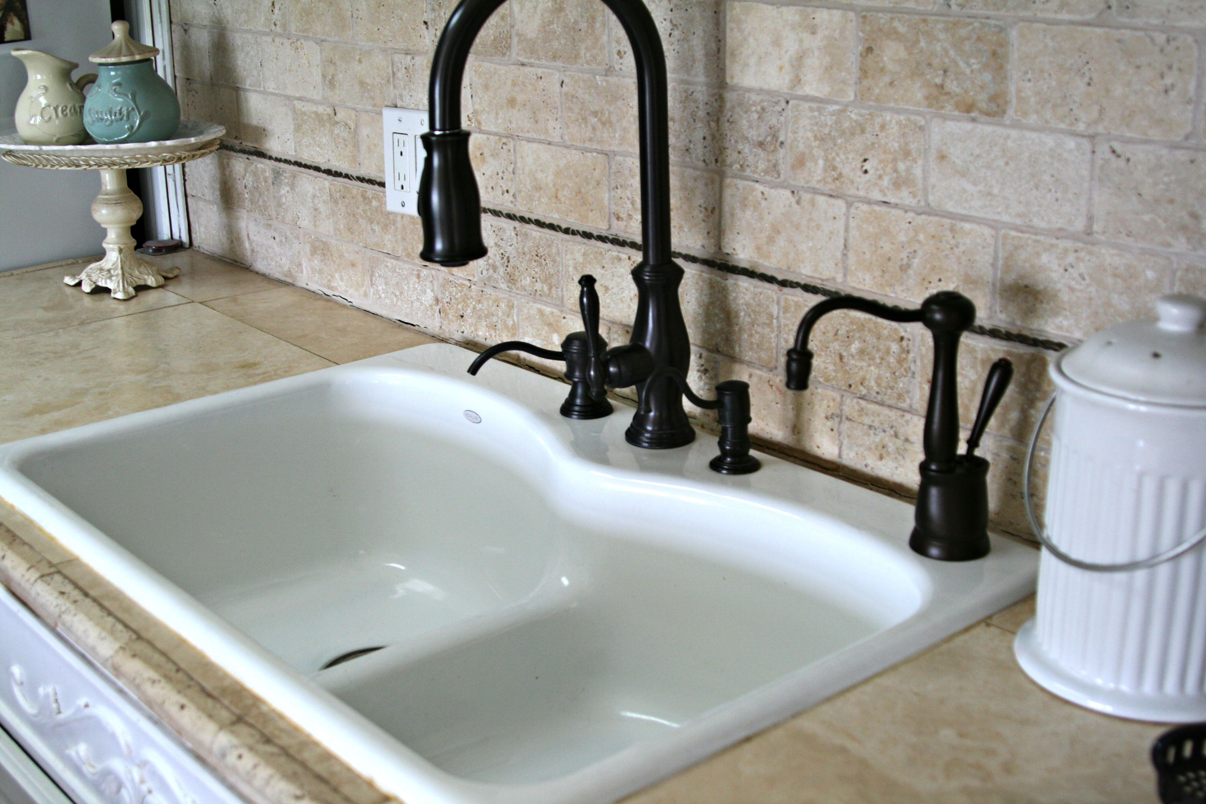 White Sink With Dark Faucet And Fixtures With Images White