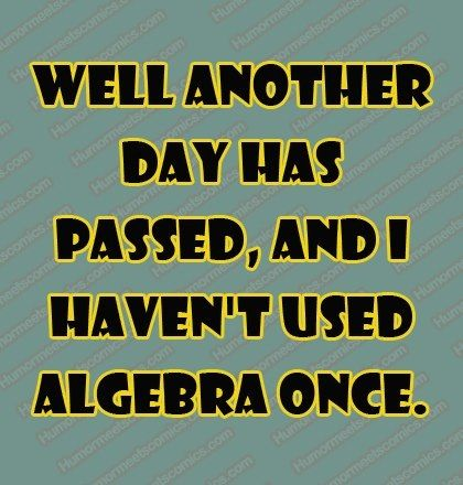 Well Another Day Has Passed And I Haven T Used Algebra Once Dontgetmath Dislikemath Funny Quotes I Love To Laugh Just For Laughs