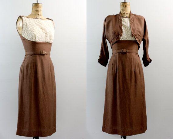 Jahrgang 1940er Jahre Kleid / 40er Jahre Kleid braun / Bolero Kleid ...