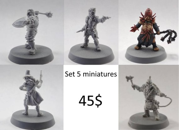 5 Heroes Pathfinder/D&D set 28mm Darkest Dungeon collectible