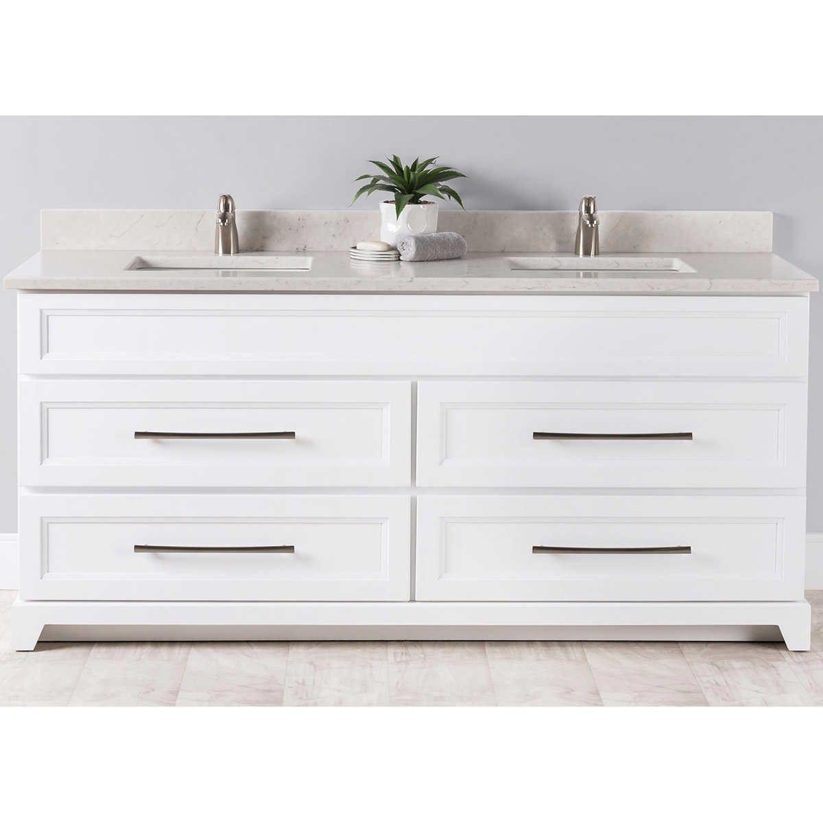 White Vanity, Quartz Countertops, Countertops