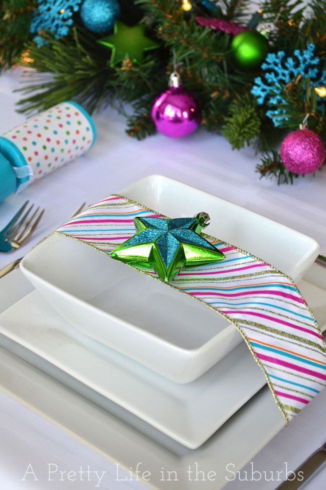 Colourful Christmas Table Setting A Pretty Life | With a decorated evergreen centrepiece & Colourful Christmas Table Setting A Pretty Life | With a decorated ...
