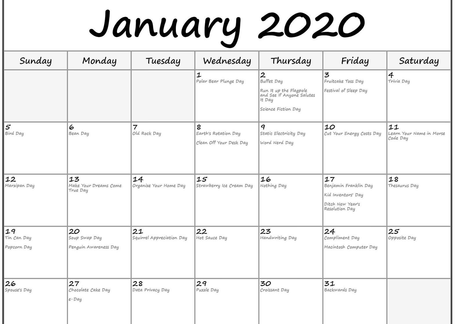 Top Free January 2020 Calendar Pdf Word Excel Template Holiday