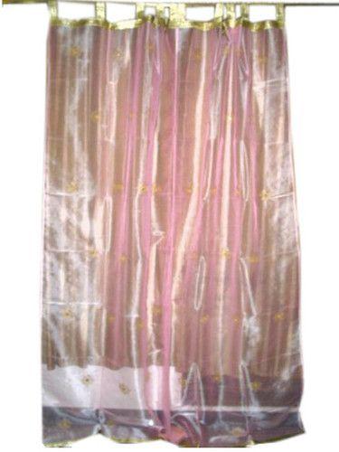 2 Embroidered Sari Drapes Pink Organza Sheer Curtains Panel 92