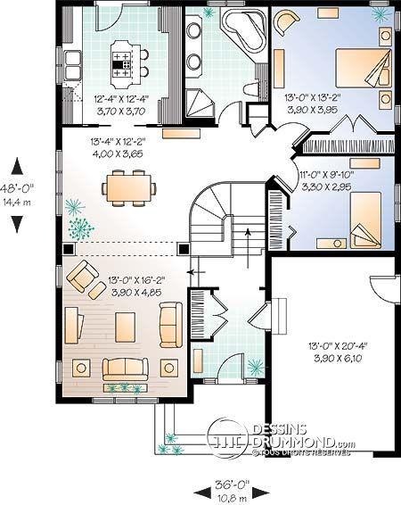 Détail du plan de Maison unifamiliale W3211 déco futur maison - plan petite maison plain pied