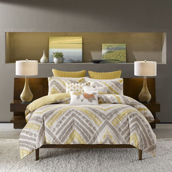 Ink Ivy Cornwall Yellow Duvet Cover 3 Piece Set