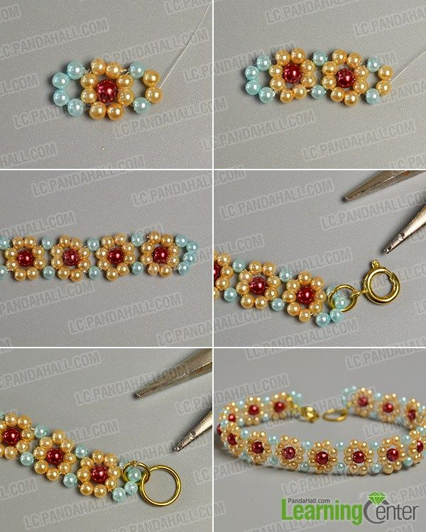 Make The Second Part Of Yellow Pearl Bead Flower Bracelet