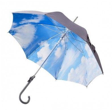 """Paraply, grå,  m. """"sølv"""" prikker/himmel på indersiden."""