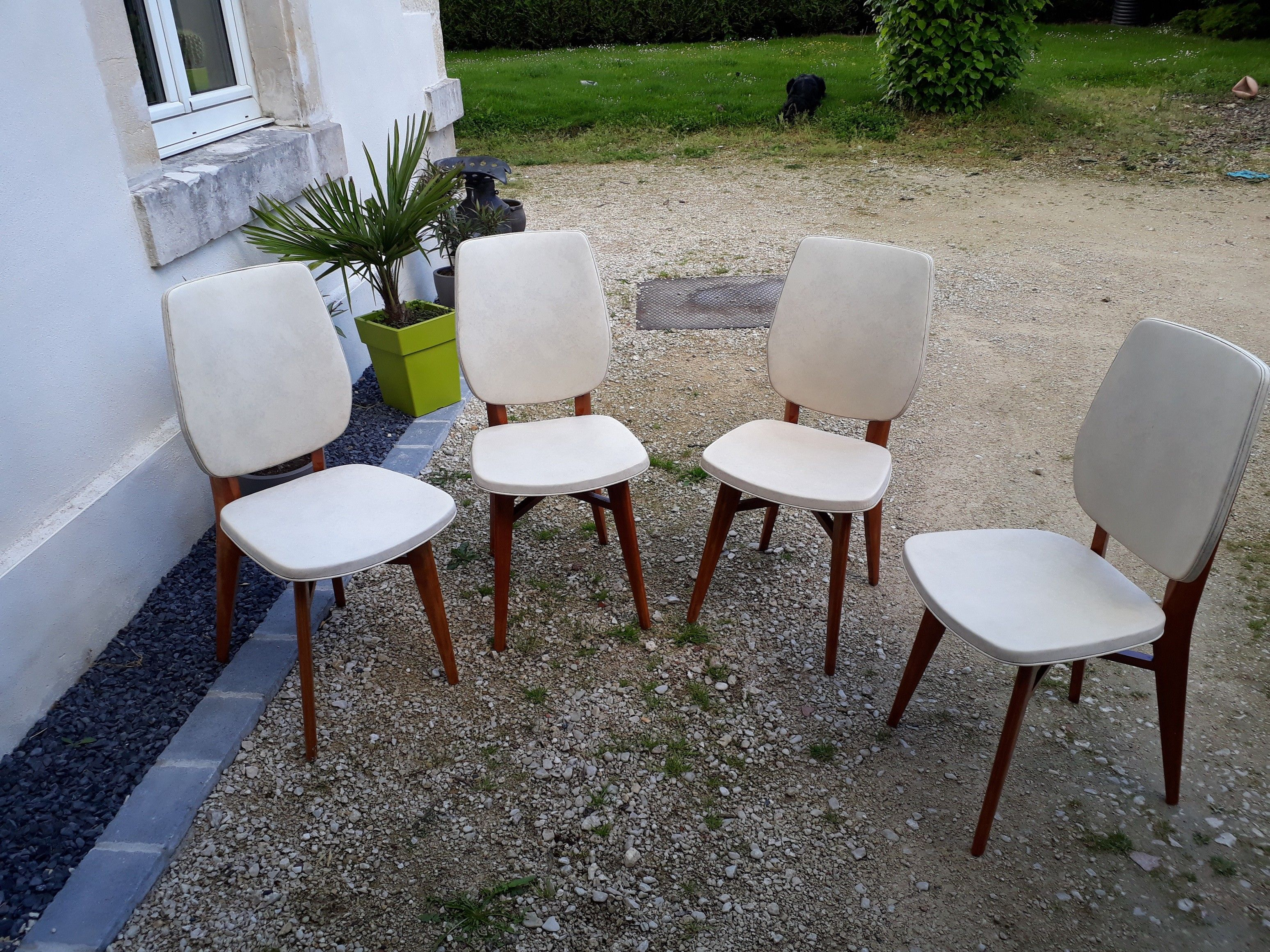 Lot De 4 Chaises Vintage Skai Marbre Chaise Vintage Chaise 4 Chaises