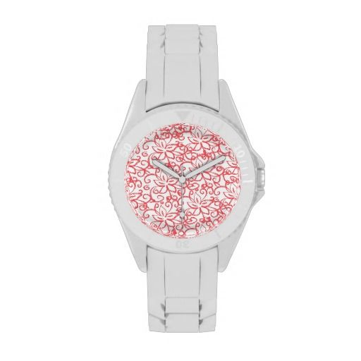Pink Floral Drawing Wrist Watch