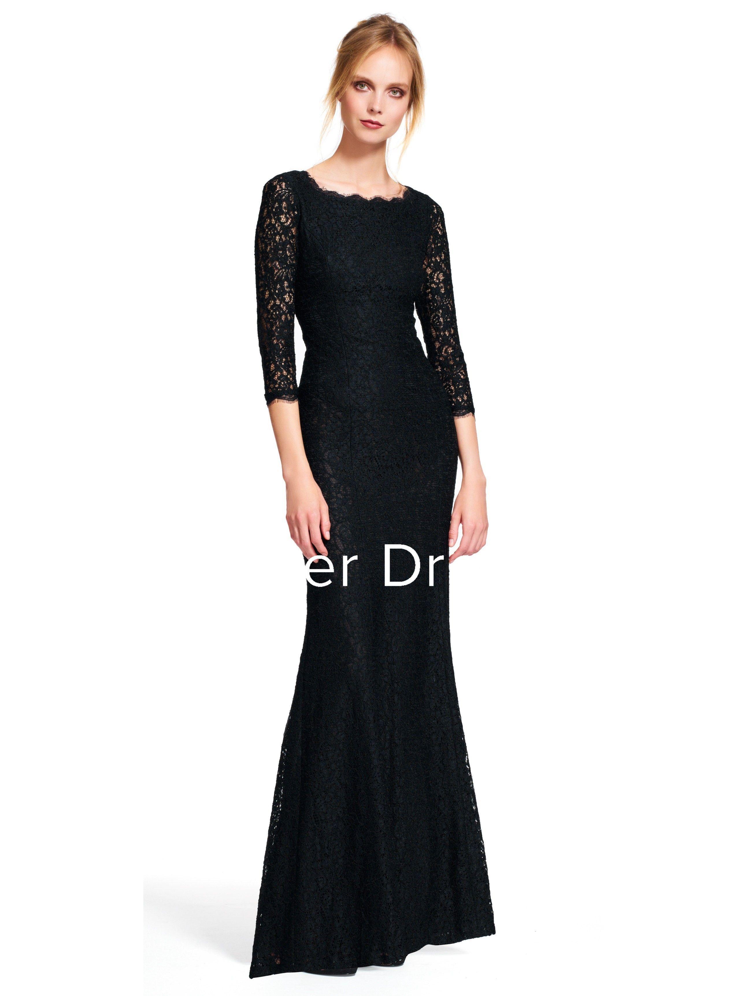 Sheath Floor Length 3 4 Sleeve Bateau Neck Lace Bridesmaid Dress Black Bridesmaid Dresses Long Lace Dress Long Long Sleeve Bridesmaid Dress