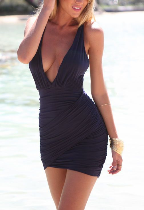 Deep Plunge Neck Backless Bodycon Dress