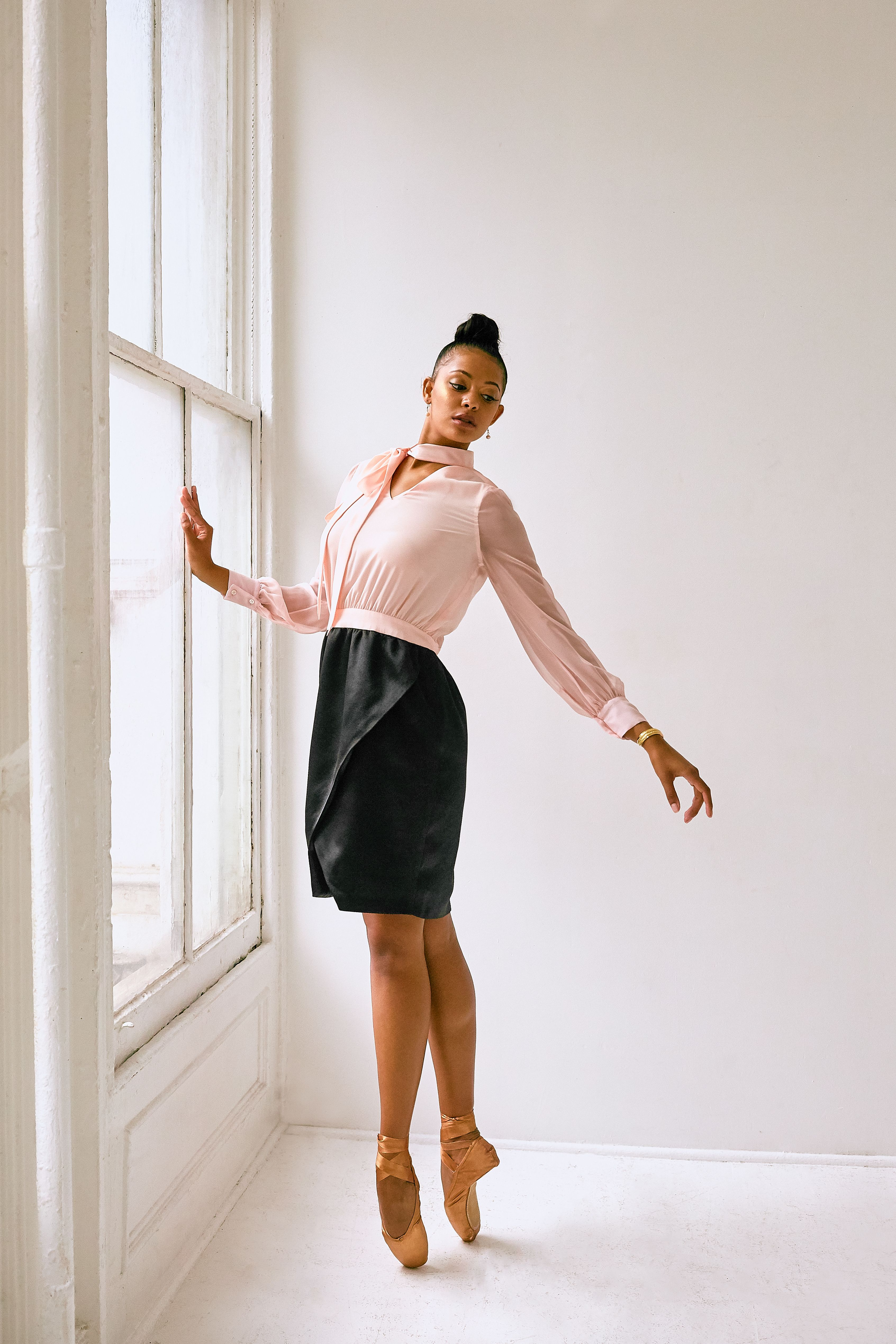 London Shirt Dress with Wrap Skirt in Baby Pink and Black in 2019 ...
