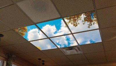 Led Skylight In Windowless Environment Helps Bring The Healthy Benefits Of Nature Into Buildings W False Ceiling Design False Ceiling Living Room False Ceiling