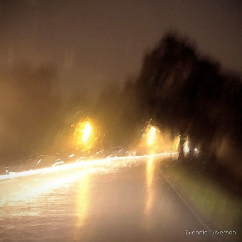 "Stormy Night, 8"" x 8"" Print, Ready to Frame, Trees, Street Lights, Rain Drops, Night, Dark, Fine Art Photography by Glennis Siverson"