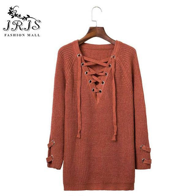Shirt Dress Lace-up knitted winter sweater women Loose white pullover Elastic waist knitwear casual winter outwear 2016 Tops