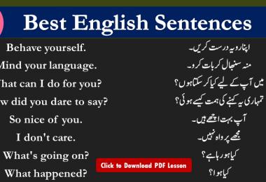 Spoken English Sentences With Urdu Translation English Sentences