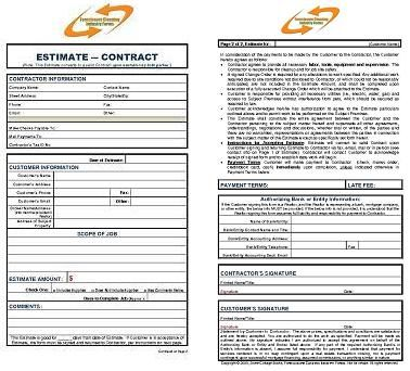 Foreclosure Cleanup Business Combo Estimate  Contract Form