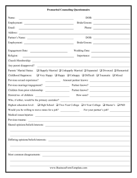 This printable questionnaire is for couples who are ...
