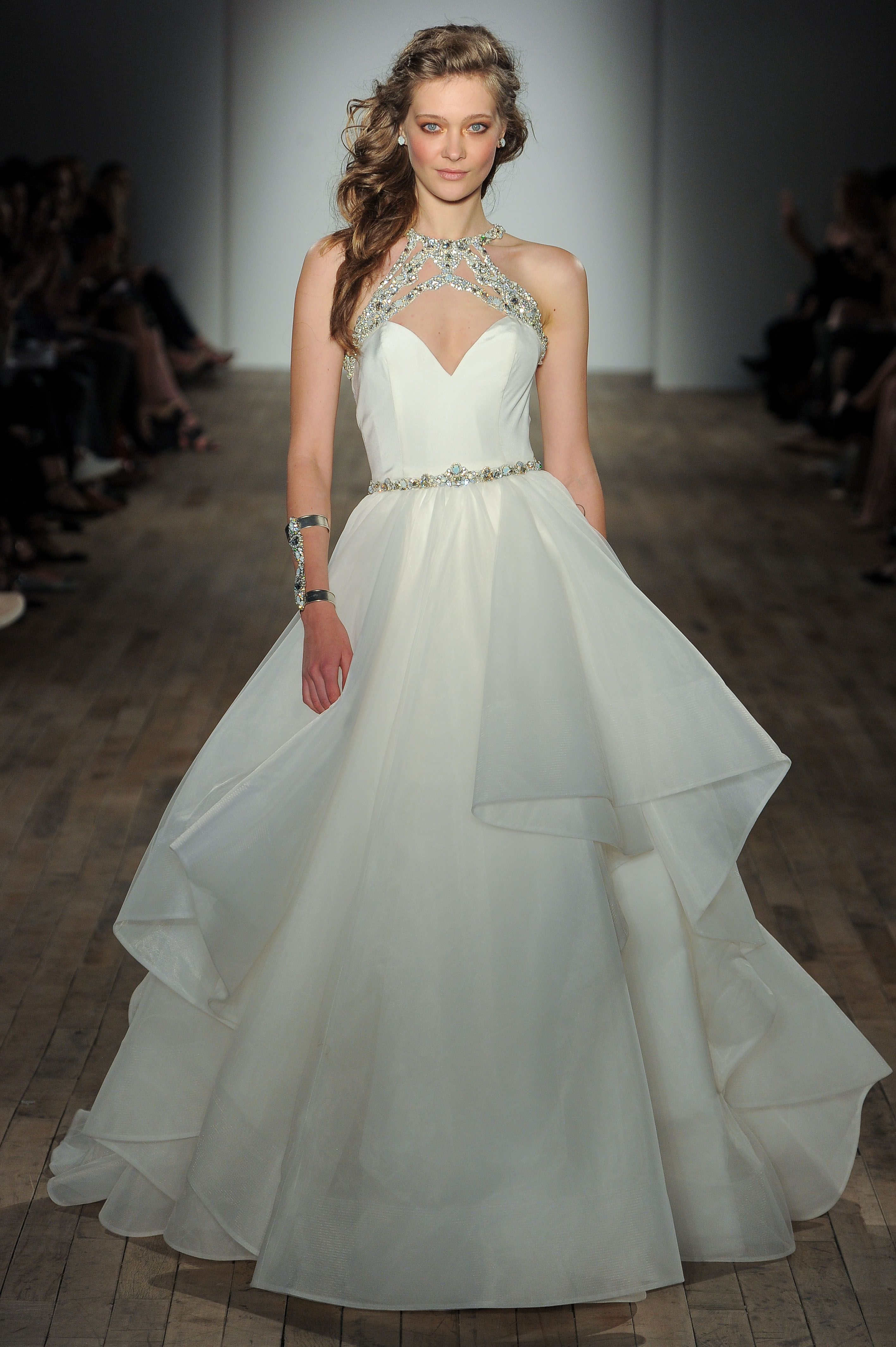 Style 6750 Sloane Ivory silk crepe gown with full layered organza ...