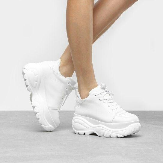 c50848022 Tênis Chunky Zatz Plataforma Básico Feminino - Branco   Looks ...