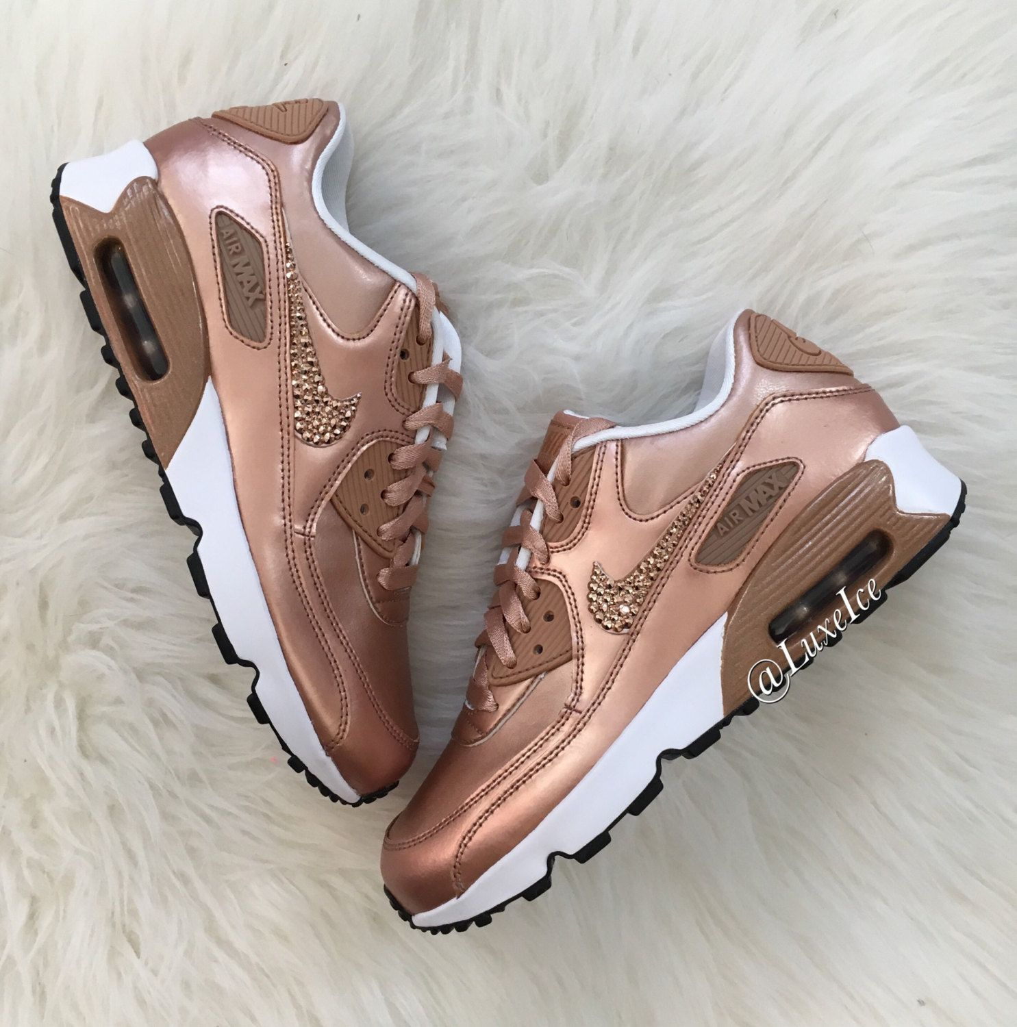 the best attitude 13462 cd659 Nike Air Max 90 SE Leather with SWAROVSKI® Xirius Rose-Cut Crystals. Color   Metallic Red Bronze Metallic Red Bronze FIT  True to size This style is  made in ...