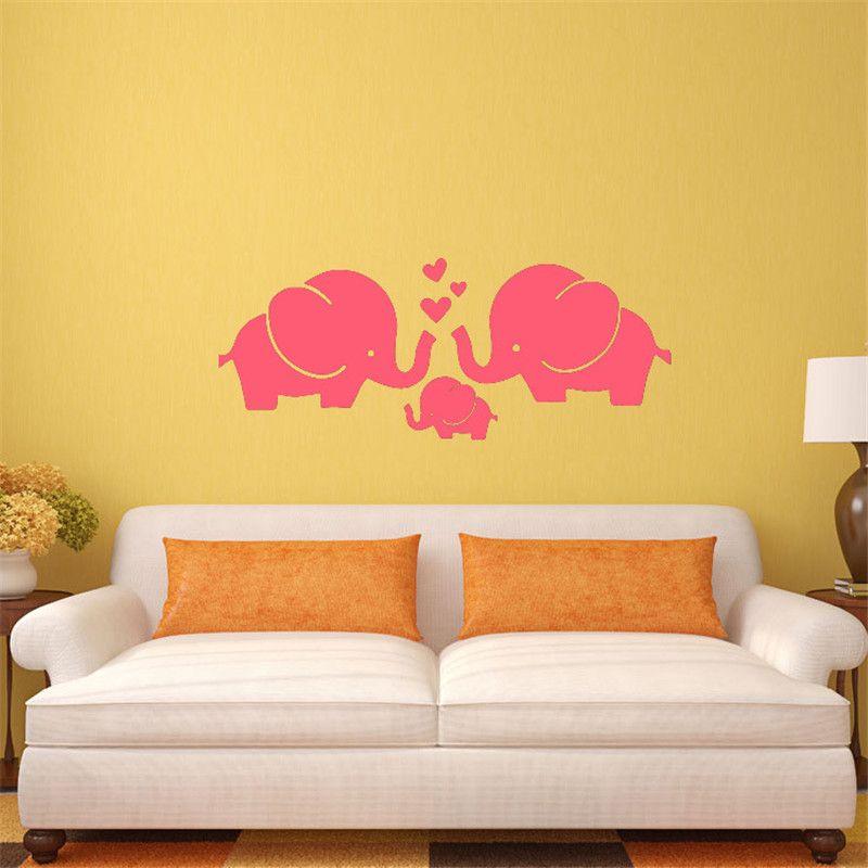 PVC Wall Stickers Cartoon Decals DIY Children Sticker Elephant Wall ...
