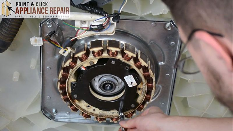 The washer transmission contains gears which engage the