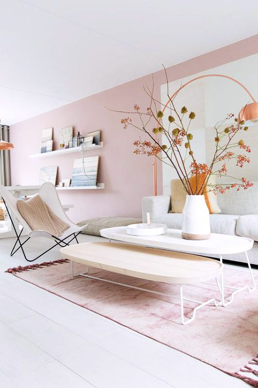Pink Accent Wall adult coffee table, with child's table fitting underneath. | home
