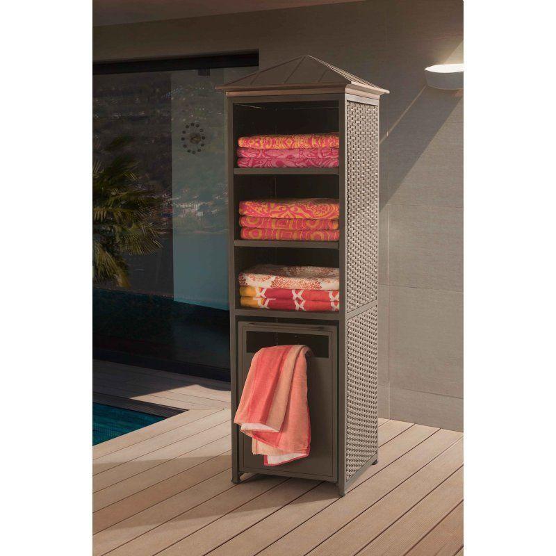 Sunnest Sunjoy Donnelly Rattan Outdoor Towel Valet Storage Shelf 110218005