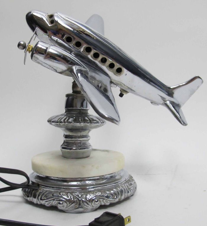 Art Deco Chrome Plated Airplane, Aviation Desk Lamp